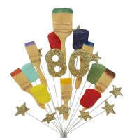 Painter and decorator 90th birthday cake topper decoration (gold) - free postage